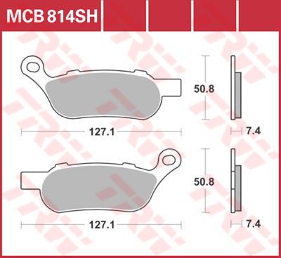 Bremsbelag TRW hinten Harley-Davidson Dyna, Softail, MCB814SH
