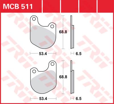 Bremsbelag TRW vorne FLT 1980-1983, XLCR 1977/78 hinten, XL 1979-1981 hinten MCB511