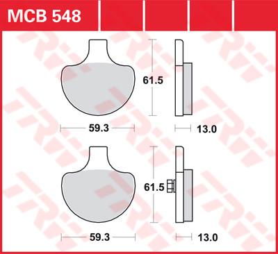 Bremsbelag TRW XL, FXR, Softail, Dyna, Touring MCB548