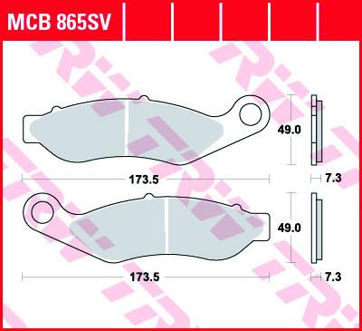 Bremsbelag TRW vorne Harley-Davidson FLRT, FLHT MCB865SV