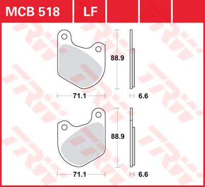 Bremsbelag TRW Harley Davidson, XL , FLT, MCB518