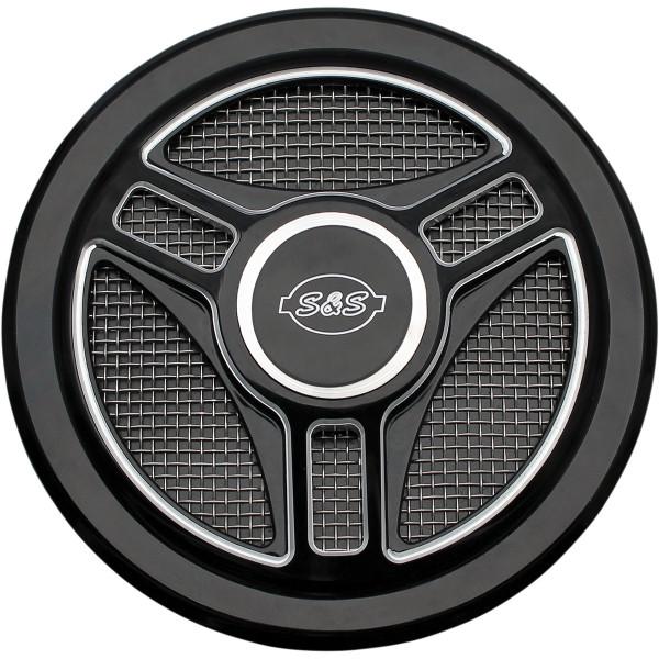 S&S Cover Tri-Spoke Schwarz Glänzend für Luftfilter Anbaukit