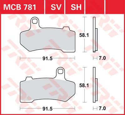 Bremsbelag TRW vorne V-Rod 2006 -, Touring 2008 - MCB781SV